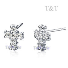 UNIQUE T&T WGP CUBIC ZIRCONIA Cross Stud Earrings