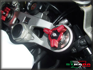 Strada 7 Racing 22mm Fork Pre-load Adjusters Triumph 675 Street Triple 08-09 Red