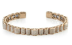 Black Friday 10.83CT NATURAL DIAMOND 14K SOLID ROSE GOLD BRACELET FOR MEN