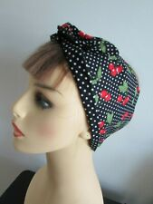 Pin Up Retro Wide or Narrow Black Cherry Wired Headband reversible Black Spot