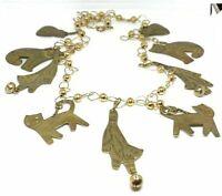 "Vintage Brass Cat ball charm dangle drop necklace 24"""
