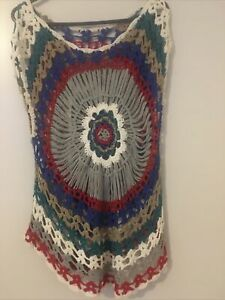 Beautiful Crochet Vintage Womens Top Colourful Size M 70s Style