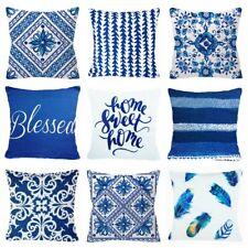 "Cushion COVER Blue White Soft Home Decor Decorative Bless Pillow Case 18x18"" USA"
