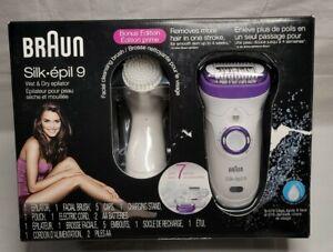 Braun Silk-Epil 9 Bonus Edition Wet And Dry Cordless Epilator w 7 Extra Facial