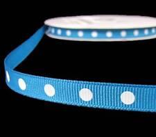 "5 Yds Blue White Dotted Polka Dot Grosgrain Ribbon 3/8""W"