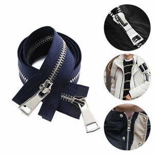 1PC 70/90CM 5# Open-End Double Sliders Metal Zipper DIY Crafts For Pocket