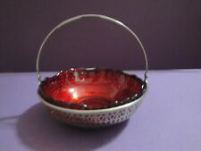 Vintage- Deep  Red Glass Hobnail  Bowl with Scalloped Edge in Silvetone Holder