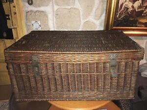 Pretty Bootlid De Voyage Xixème Trunk IN Wicker Braided Hinges Copper