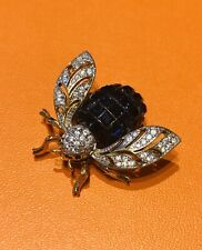 CARUCCI Blue Crystal Bug Brooch
