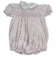 Petit Ami Bubble Romper 3 Months Smocked Pink Pleated Hand Embroidered Flower
