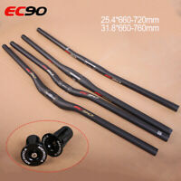 EC90 Handlebar Full Carbon Riser/Flat 25.4/31.8mm MTB Racing Bike Bar Ends Plugs