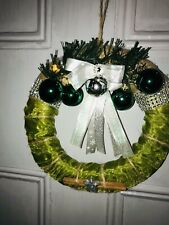 Christmas Wreath Decor Bell Home Party Door Wall Garland Green Silver Ornament