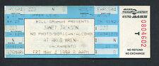 Original 1990 Janet Jackson unbenutzt Konzert Ticket Rhythm Nation Tour Sacramento