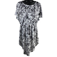 H&M Gray & White Floral Short Sleeve Stretchy Dress Women's Size Small