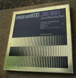 """Maxell 35-180 Metal Reel In Orig Box With 1/4"""" RTR Tape 267mm 10.5 Rock Music"""