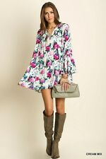 Umgee FLORAL Print Bell Sleeve Tunic Top Trapeze Swing Boho Gypsy Shift Dress M