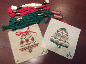 2 Christmas bells Needlepoint Ornaments Kit - Hand Painted Canvas