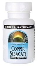 Source Naturals, Cobre sebacato - 22mg x 120 PASTILLAS