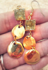 24K Gold Honey Amber Yellow Crystal Druzy Quartz Jewelry Hammered Disk Earrings