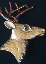 HUNTING CHRISTMAS REINDEER BROWN MOOSE ELK DEER HEAD PIN BROOCH SLIDE PENDANT 3D