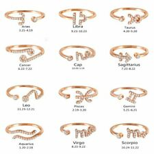 12 Constellations Zodiac Sign Finger Rings Women Rose Gold Adjustable Zirconia