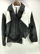 Women's FEMMEGAN Biker Motorcycle Jacket Black & White Leather Sz 6 or Small