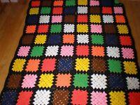 Vintage Granny Square Crochet Afghan Quilt Blanket Throw Black Multi Color HUGE