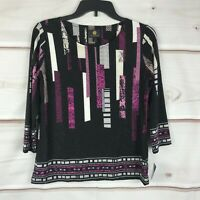 JM Collection Petite 3/4 Sleeve Printed Jacquard Womens Size PS Black Knit Top