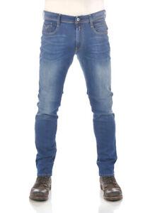 Replay Jeans Homme Anbass Bleu Moyen Slim Fit Pantalon Stretch W27 - W40