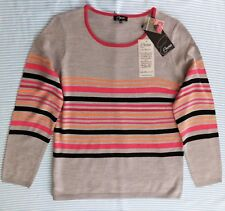 Mesdames Gris Pull Rayé Top Emreco UK Femme Taille 12 Bnwt Neuf