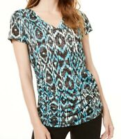 INC Women's Top Blue Size Medium M V Neck Ikat Print Ruched Sides $49 #258