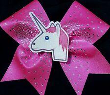 Cheer Bow - 3D Unicorn  Emoji Rhinestone - Hair Bows