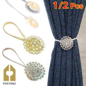 2Pcs Magnetic Curtain Tiebacks Crystal Tie Backs Buckle Clips Holdbacks Home