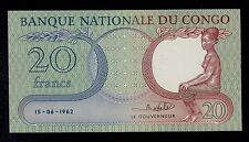 CONGO DEMOCRATIC REPUBLIC  20 FRANCS 1962  PICK # 4  UNC LESS.