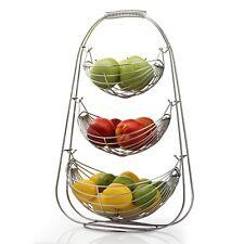 3 Tier Chrome Swinging Fruit Vegetable Bowl Basket Rack Stand Holder Hammock New