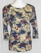 Modisches Damen Shirt NELLY Rundhals 3/4 Arm Blau, Beige, Bordeaux  Größe: 44
