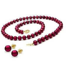 Freshwater Red Cranberry Pearl Necklace Earring Set 14k Solid Yelllow Gold Clasp