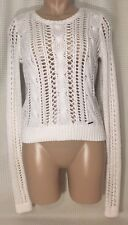 Abercrombie & Fitch Sweater White Cable Knit  Open Whole Long Sleeve Sz XS