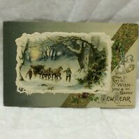 Vtg Embossed Postcard Happy New Year Greetings Winter Scene 1911 John Winsch