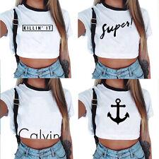Damen Sommer T-Shirt kurzärmlig Tank Bluse schmal Oberteile Sportbekleidung