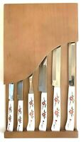 Households Stainless Steel Steak Knife Set Japan Red Flowers Vintage 6 Piece