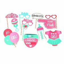 12 Baby Shower Photo Booth Props Girl Birth Party Decorations Accessories Games