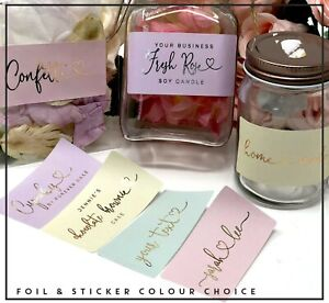 Custom Names rectangle stickers label foil candle,wedding,handmade cake x24