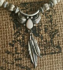 SALE! WHITE & BLUE TURQUOISE BEAD & VINTAGE SIGNED FEATHER PENDANT & CERTIFICATE