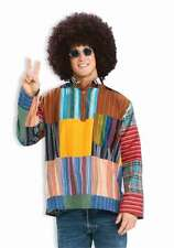 Hippie Patchwork Shirt Multi Colored Nehru Collared Groovy Tunic Style Shirt Med