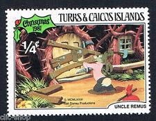 WALT DISNEY 1 FRANCOBOLLO TURKS & CAICOS ISLANDS CHRISTMAS 1/4c 1981 nuovo