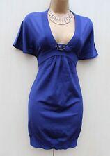 Karen Millen Royal Blue Knit Low V Neck Bodycon Mini Tunic Top Dress 3 UK-12-14