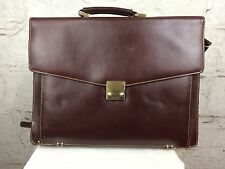 "Vintage Brown Leather Briefcase Satchel Laptop Carry Bag 80s Genuine 15"" (1385)"