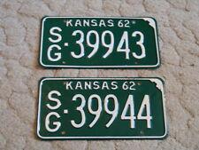 ANTIQUE CONSECUTIVE PAIR OF 1962 KANSAS LICENSE TAGS/PLATES - #39943 & 39944