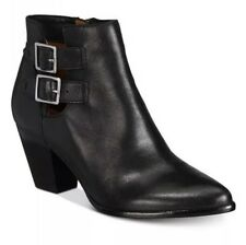 Frye Jennifer Belted Buckle Booties Ankle Boots Leather Cowboy Black 6.5 M $298